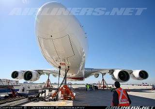 Airbus A380 lifted by hydraulic jacks